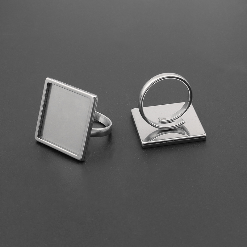 2pcs Stainless Steel Round/Square Cabochon Ring Base Adjustable 20mm 25mm Blank Bezel Settings DIY Jewelry Findings
