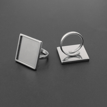 2pcs Stainless Steel Round/Square Cabochon Ring Base Adjustable 20mm 25mm Blank Bezel Settings DIY Jewelry Findings 10pcs fit 25mm stainless steel cabochon base diy blank cameo pendant bezel settings diy jewelry necklace trays