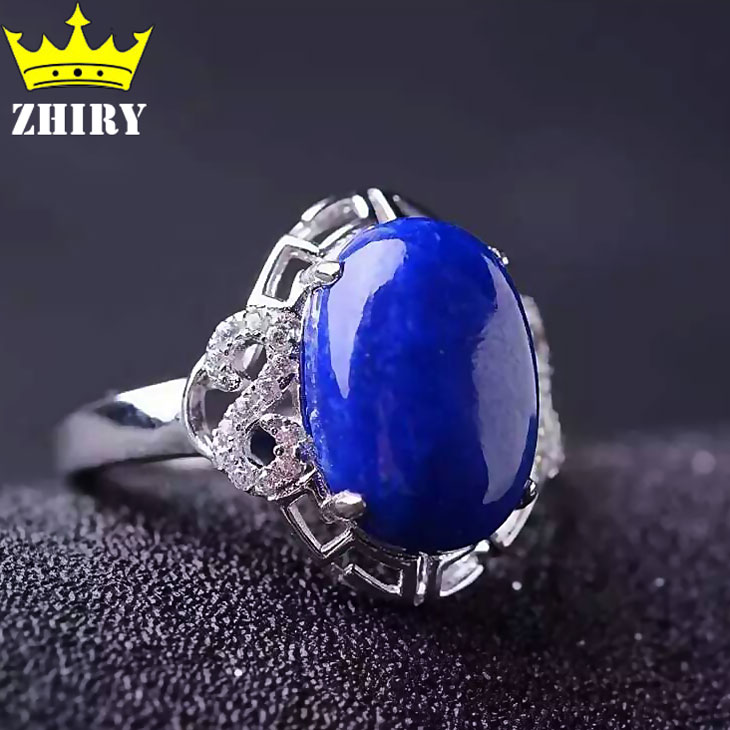 Natural Genuine Lapis Lazuli stone ring Solid 925 sterling silver Woman jewelry rings blue gems