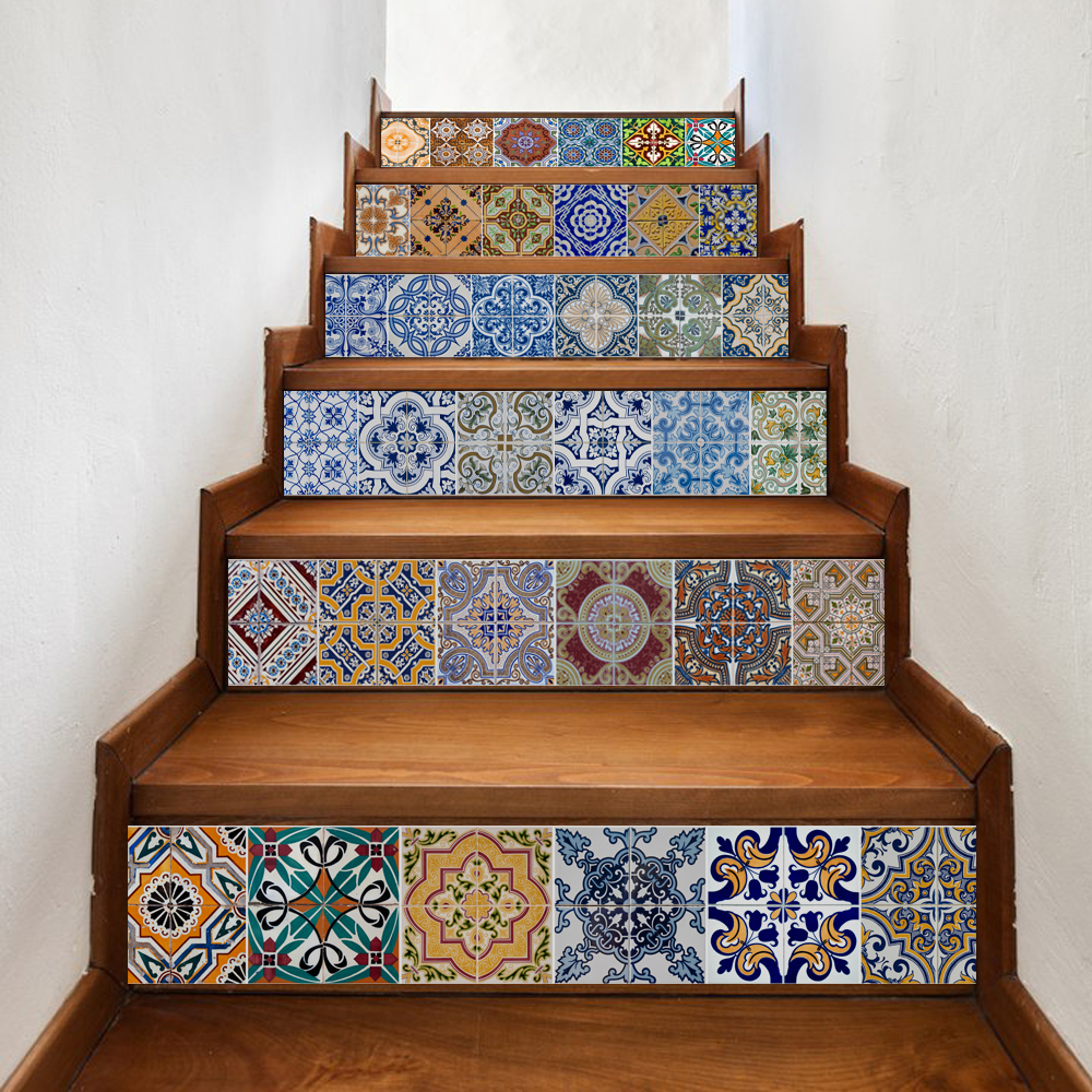 6 Pieces/Set Creative DIY 3D Stairway Stickers Ceramic Tile Pattern for Room Stairs Decoration Home Decor Floor <font><b>Wall</b></font> Sticker