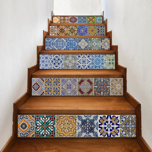 6 Pieces Set Creative Diy Stairway Stickers Ceramic Tile Pattern For Room Stairs Decoration