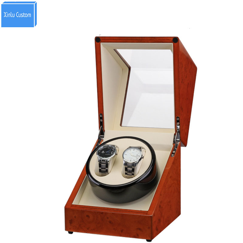 Automatic Watch Winder Box, Plug/Battery Global Use Wood Paint Rotate Watches Japan Motor Accessories Watches Watch Box Winders 2016 latest luxury 5 modes german motor watch winder yellow spray paint wooden white pu leater inside automatic watch winder