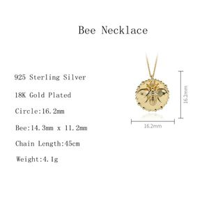 Image 2 - Silvology 925 Sterling Silber Cartoon Insekt Biene Halskette Gold Original Modische Weibliche Anhänger Halskette 925 Geburtstag Schmuck