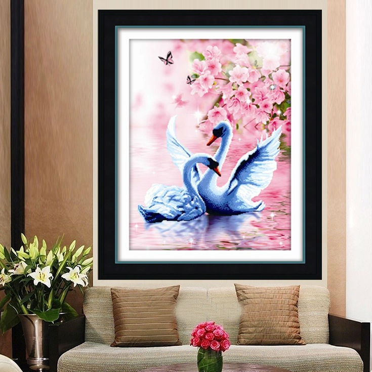 GLymg Needlework DIY 3D Korsstygn Swan Vertikal Print Precise Printing Bedroom Adornment Bild på äktenskap DMC Thread Color