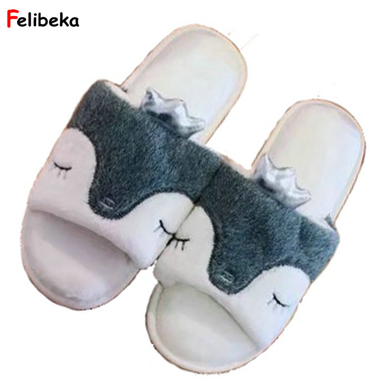 fabrics soft TPR bottom adorable penguin Fish mouth slippers plush penguin  women bedroom girls shoes slippers 358bfedde4f3