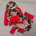 Hoodies do bebê Meninas Conjuntos de Roupas de Outono Menina de Algodão Hoodies Casaco + Calças 2 Pcs Set da Menina Floral Moletom Definidos menina Camisola C51