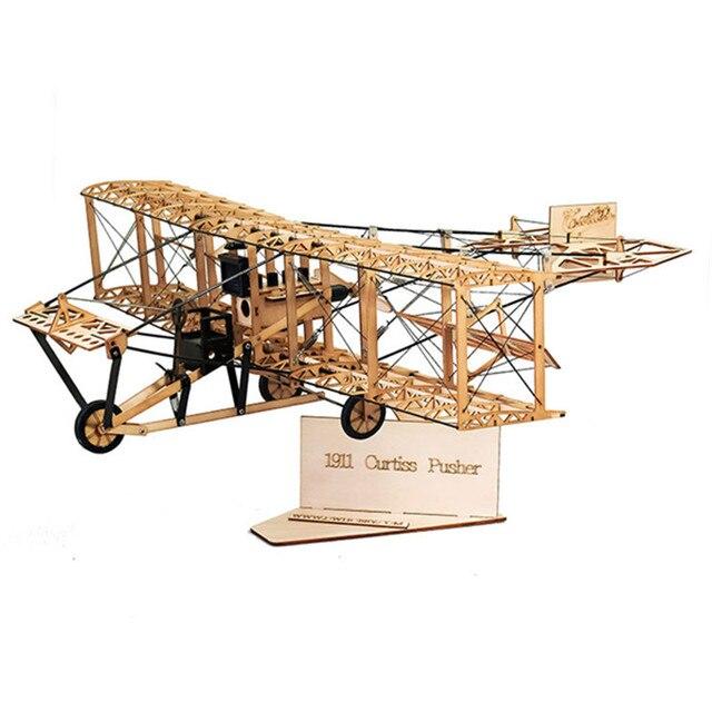 Wright Brothers Curtiss толкатель 1911 Винтаж 550 мм размах крыльев самолетик из пробкового дерева модельный комплект