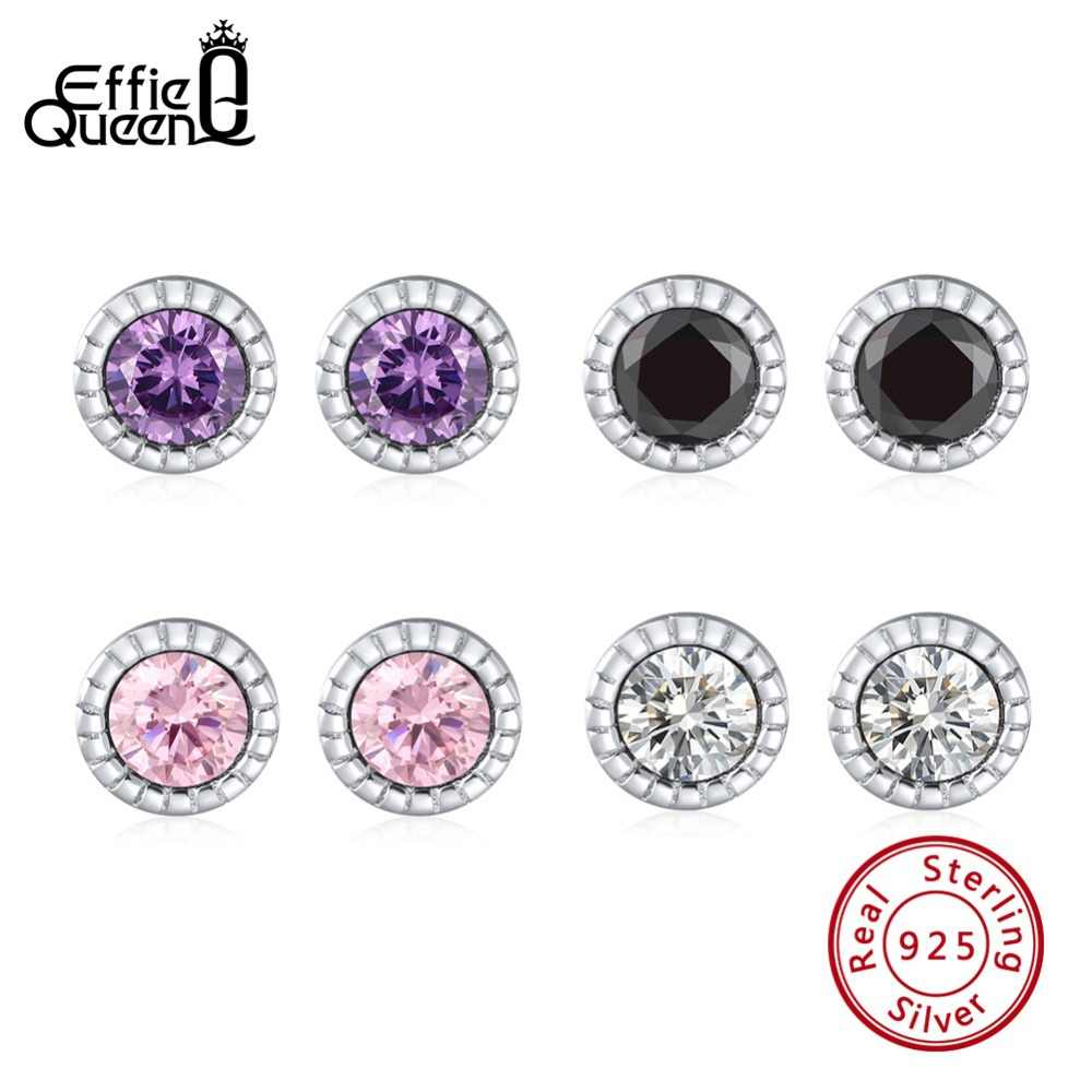 Effie Queen Real 925 Sterling Silver Stud Earrings with 4 Colors Zircon 5mm Round Women Earrings Colorful Fashion Jewelry BE119
