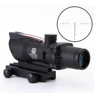 4x32 Acog Riflescope 20mm Dovetail Reflex Optics Scope Tactical Sight Rifle w/ Tri Illuminated Chevron Recticle Fiber Source