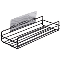 Self Adhesive Sundries Organizer Shower Shelf Basket Bathroom Shampoo Holder Wall Corner Kitchen Free Punching Wall Hanging|Storage Shelves & Racks|Home & Garden -