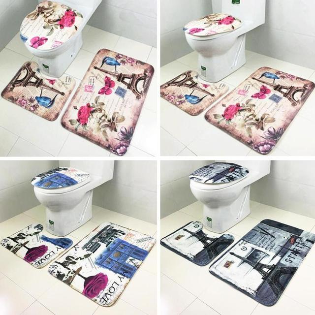 07a0ec0af Kit Tapete do Banheiro Tapetes de banheiro Definir Coral Fleece Lasticity  Banho Padrão Não-slip