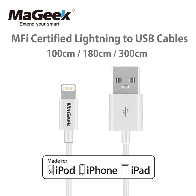 MaGeek Original 1m 1.8m 3m Mobile Phone Cables MFi Lightning to USB Cable for iPhone 7 6 6s 5 iPad 4 mini Air iOS 8 9 10
