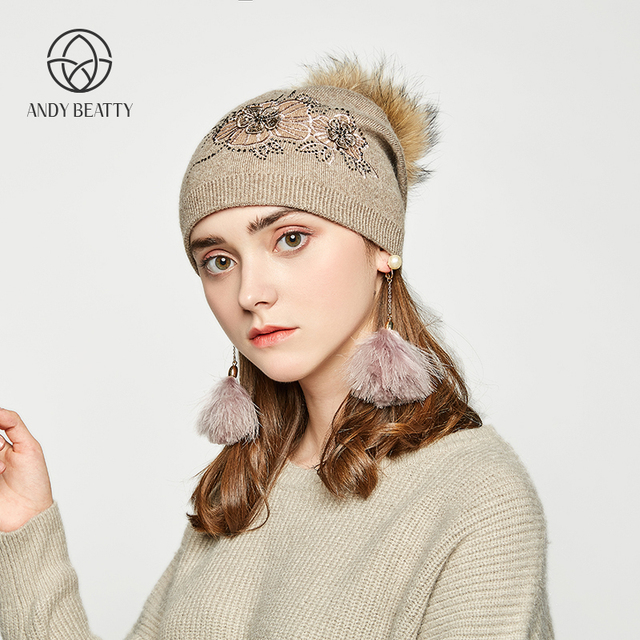 007e0d97757 ... Andybeatty Fashion Autumn Knitted Hat Female Embroidered Rhinestones Winter  Hats Women Cashmere Gravity Falls Cap Girl ...