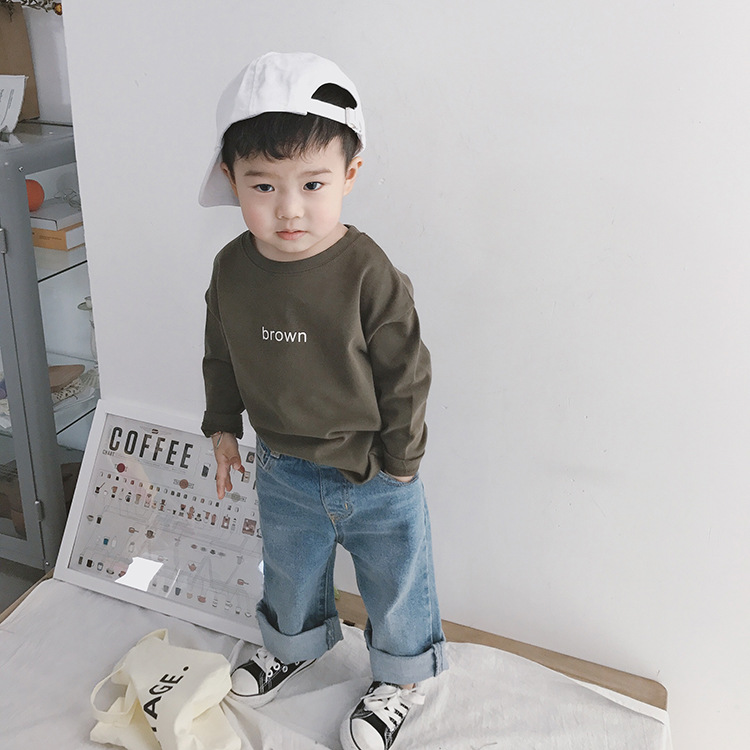 Lente Herfst kids fashion wijde pijpen denim broek Koreaanse stijl jongens all-match losse rolzoom jeans 1-7Y