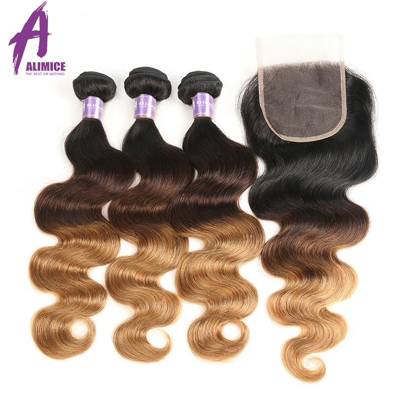 Alimice 3 Tone Ombre Bundles With Closure Indian Body Wave Hair Weave Bundles With Closure T1b