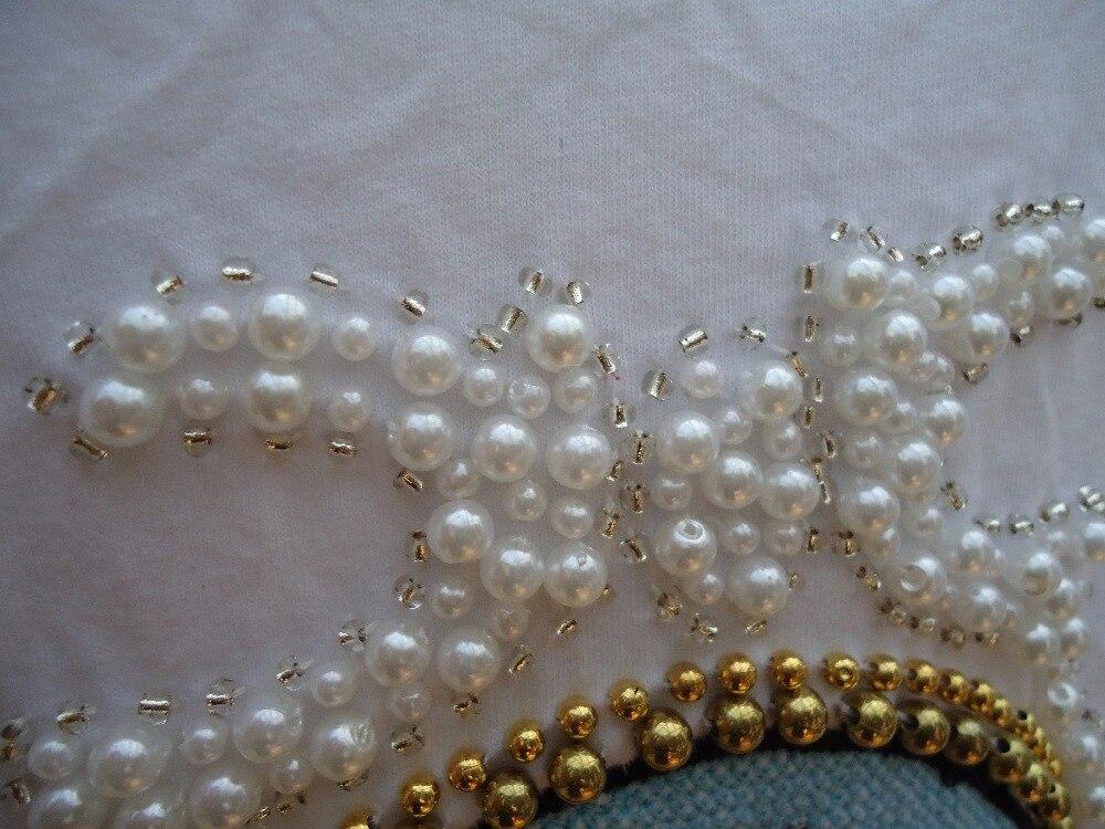 Blanc T Pour Coton Mode Vente D'été Perar Tee Femmes Manches Deoratioshort shirt Perles 0I6qw