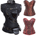 Black Steampunk Waist Trainer Corset Buckle Steel Bone Corsets And Bustiers Gothic Overbust Waist Trainer Corset S-2XL TYQ