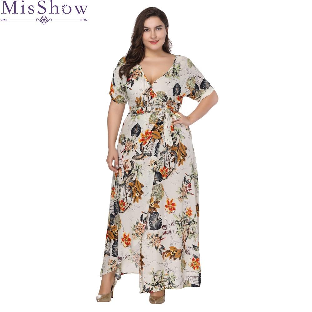 26ae4bab9 Vestido largo Maxi para mujer talla grande 6XL 7XL 2019 verano estampado  Floral estilo bohemio ...