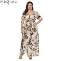 Women Long Maxi Dress Plus Size 6XL 7XL 2019 Summer Floral Print Boho Style Beach Dress Casual Short Sleeve Party Dress Vestidos
