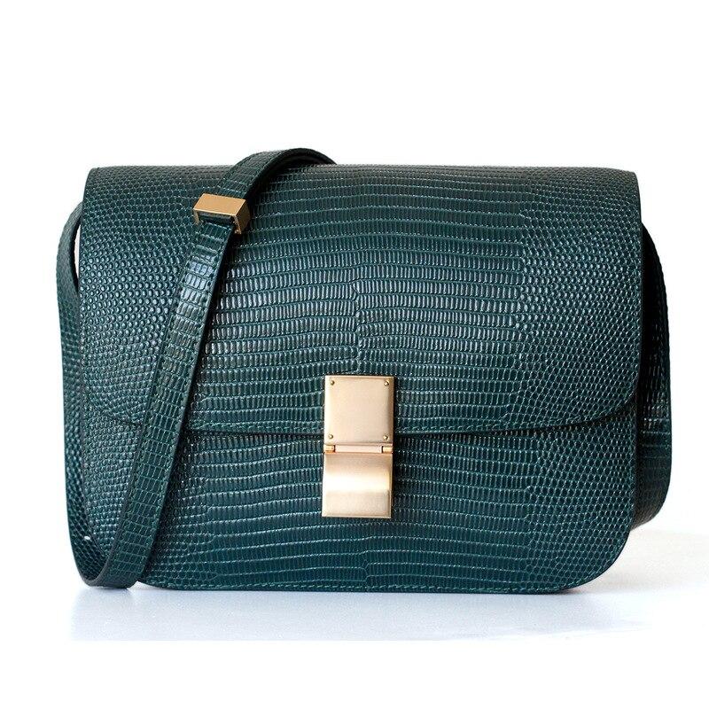 Women Lizard Handbags Genuine Leather Concise Cow Bag Lady Shoulder Crossbody Messenger Bags Stewardess Flap