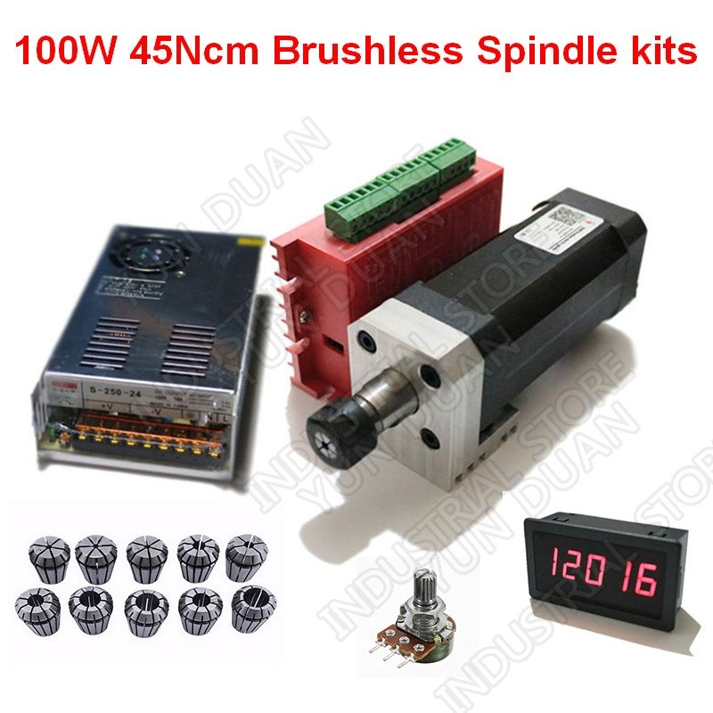 100 W 45Ncm DC broche Brushless 42mm moteur + pilote + alimentation + indicateur de vitesse + potentiomètre + ER11 Collets Match MACH3