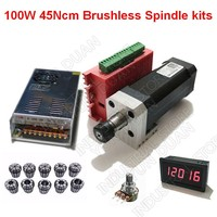 100W 45Ncm DC Brushless spindle 42mm motor + driver + power supply + Speed indicator + Potentiometer + ER11 Collets Match MACH3