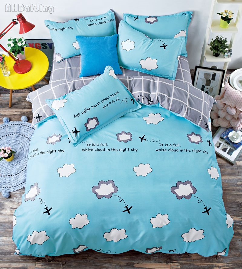 Children Cartoon Blue Paper Plane Bedding Set Cute Cotton Kid Bed Linen Bedclothes Twin Full Queen King Size Bed Set Duvet Cover