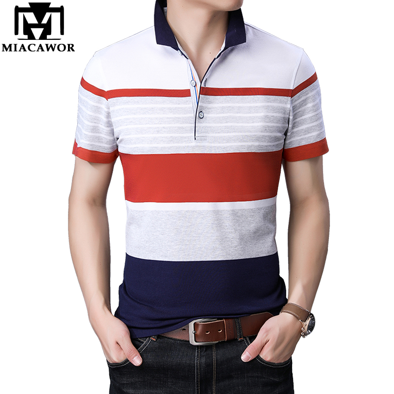 MIACAWOR New Original   Polo   shirts Men Fashion Striped Tops Tees Summer Tee shirt Homme Short-sleeve Camisa T760