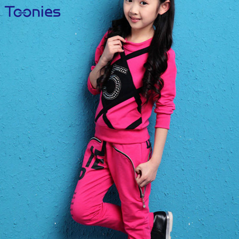 Spring Autumn Pants Suit for Girls Fashion Street Suits Beads Letters Girl Sportswear Casual Children Clothing Sets High Quality 2017solid black fashion women pants autumn rocker punk sexy style leggings street metallic femme casual slim pants