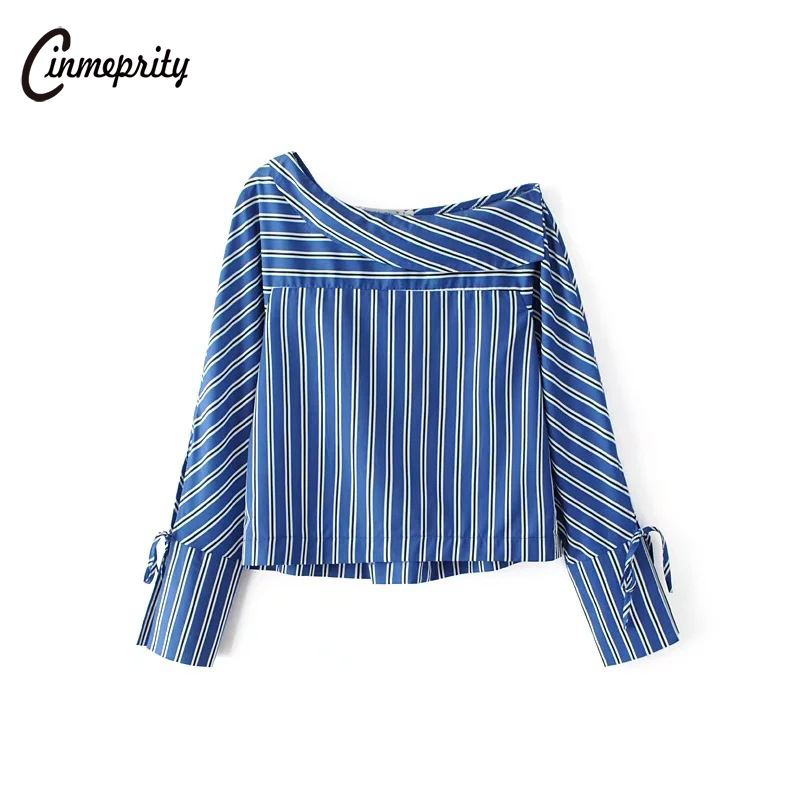 Cinmeprity 2017 Female Striped Sexy Off Shoulder Slant font b Shirt b font Femininas Blusas Ladies