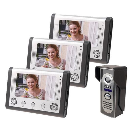 Free DHL 7 Inch Video Intercom Doorbell Door Phone Intercom 1-Camera 3-Monitor Night Vision Wired Bell Phone Doorphone