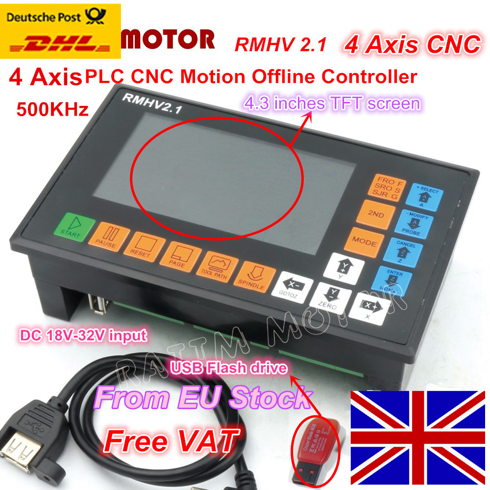 EU Free VAT 4 Axis PLC Controller 500KHz off-line operation for CNC Router Engraving Milling Machine stepper motor servo motor eur free tax cnc 6040z frame of engraving and milling machine for diy cnc router