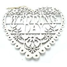 wedding decoration supplies white wood wedding gift hanging sign heart wedding day mr & mrs 26cm*26cm*0.5cm free shipping