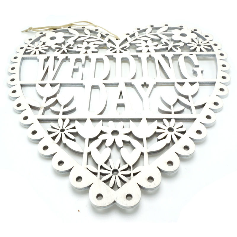 wedding decoration supplies white wood wedding gift hanging sign heart wedding day mr & mrs  26cm*26cm*0.5cm free shipping
