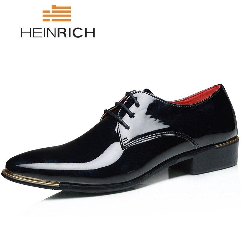 HEINRICH Big Size Patent Leather Shoes Men Luxury Fashion Men Dress Shoes Elegant Men Wedding Shoes Zapatos De Los Hombres