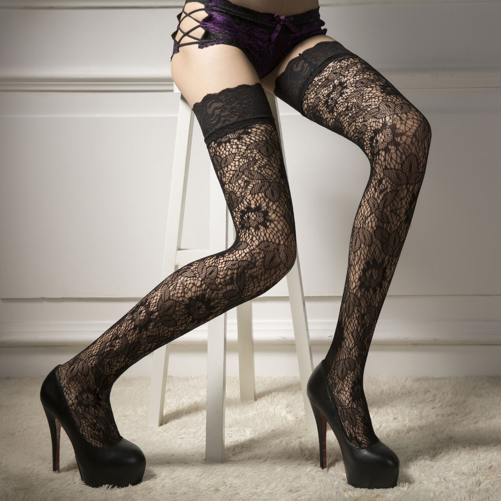 Sexy Fashion Lady Women Sexy Trendy Long Thigh High Silk Stocking Lace Top Floral Stocking