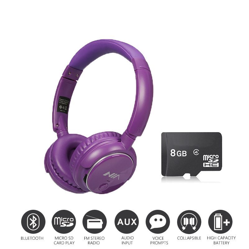 Economic Set: Original NIA Q1 + 8 GB Micro SD Card a Set Bluetooth Headphone Wireless Sport Headsets Foldable Bluetooth Earphone economic methodology