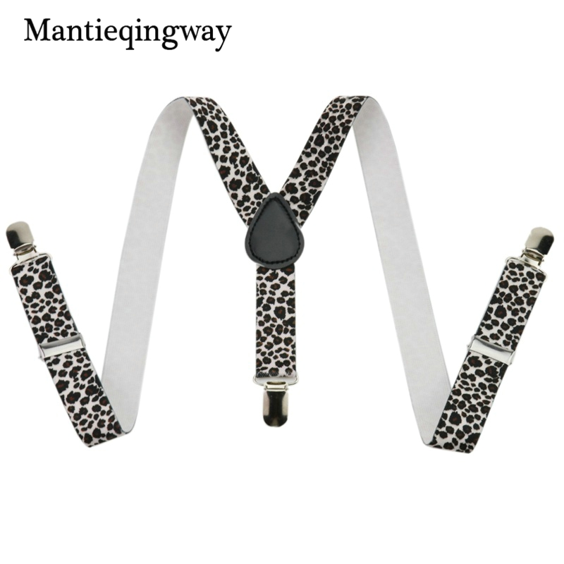 Mantieqingway Leopard Shirt Garters For Boy&Girl 3 Clip-on Suspenders For Children Y Back Elastic Braces Suspenders For Kids