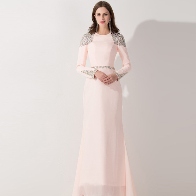 2017 Elegant Light Pink Evening Dresses Long Sleeves With Beadings ...