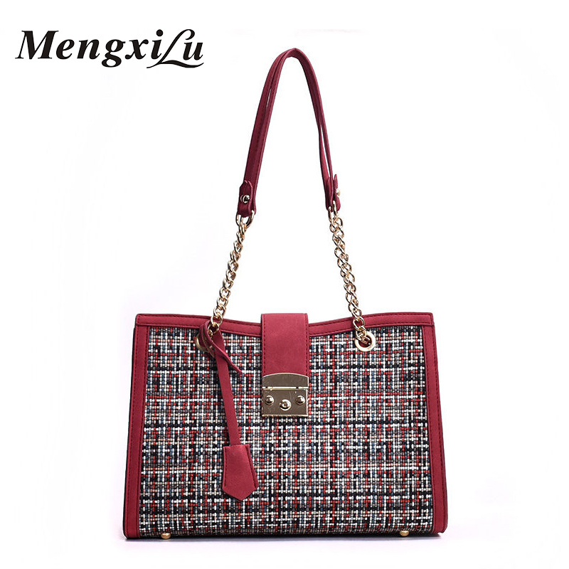 MENGXILU Fashion Women Large Capacity Handbags New Wooden PU Patchwork Shoulder Messenger Bag Female High Quality Women Bags Sac four sets 2016 new winter fashion handbags bear pendant high quality pu leather women bag wild large capacity shoulder bag
