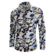 купить Men's Shirt Long-sleeved Linen Shirt Men Chinese style Flower Bird print Blouse Slim fit Summer New дешево