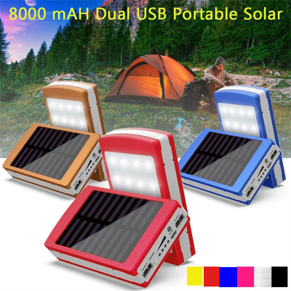 12000mAh Dual USB Portable Solar Battery Charger Power Bank For Cell Phone Fast Charging Mobile External Battery jy 1803 12000mah external li ion battery charger mobile power source bank w led flashlight pink