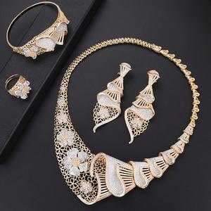 Image 1 - missvikki Dubai Gold color Jewelry Sets Bridal Gift Nigerian wedding accessories jewelry set Wholesale statement Brand jewelry