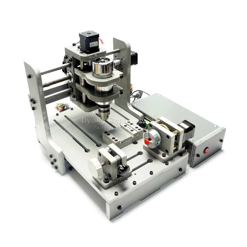USB 4axis Mini CNC Router CNC 3020 PCB Milling Machine with 4th Axis Rotary Axis 300W