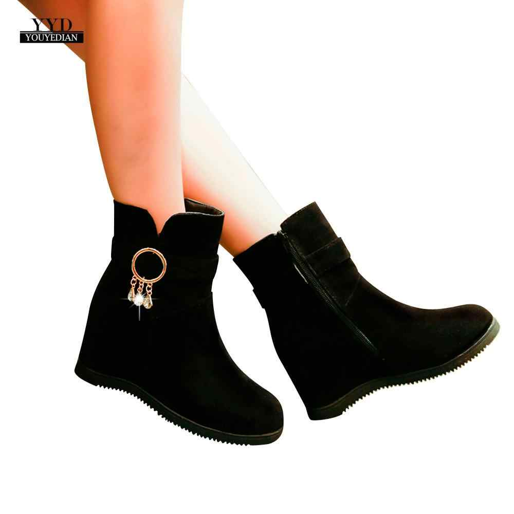 YOUYEDIAN Women Flcok Boots Wedges Low Zipper Middle Tube Boots Casual Shoes Martin Boots ankle boots para mulheres sem sa#a4