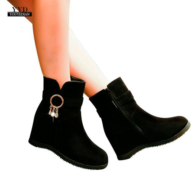 YOUYEDIAN Kadın Flcok Botlar Takozlar Düşük Fermuar Orta Tüp Çizmeler rahat ayakkabılar Martin Çizmeler yarım çizmeler para mulheres sem sa # a4