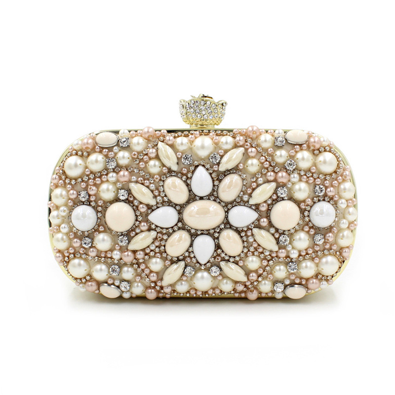 Free Shipping New 2017 Fashion Diamond Pearls Luxury Quality Mini Party Dinner Bags Day Clutches Evening Bag RQR055 free shipping a15 36 sky blue color fashion top crystal stones ring clutches bags for ladies nice party bag