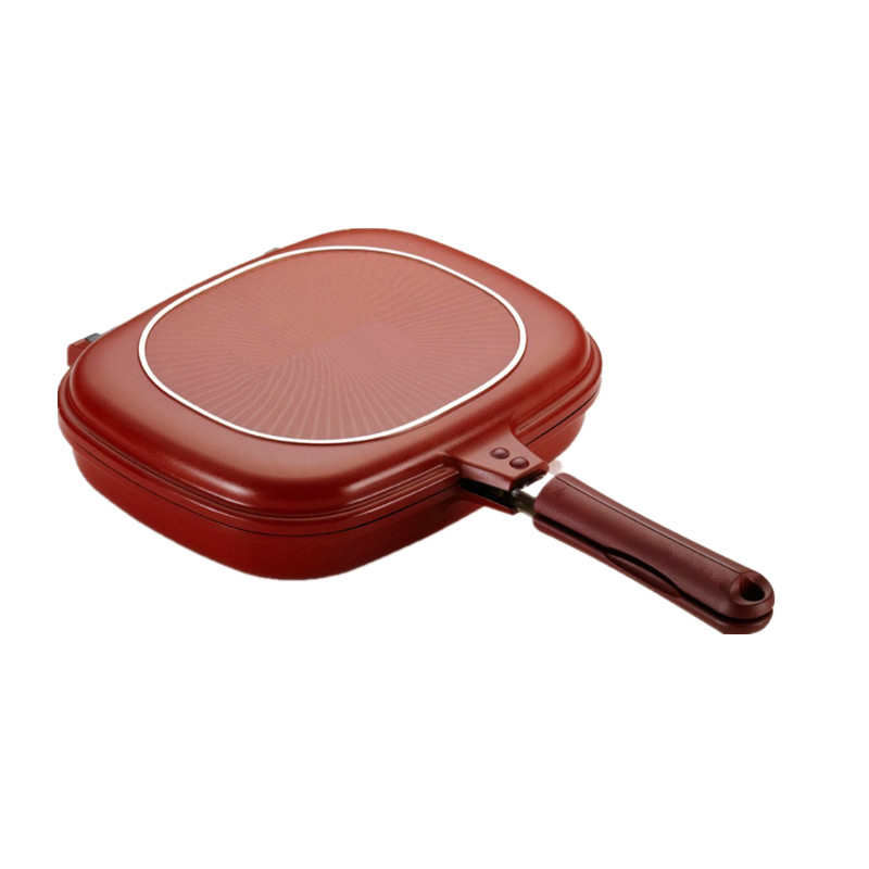 28cm Size Pan High quality Double Side Grill Fry Pan Cookware Double Face Pan Steak Fry Pan Pancake outdoor Kitchen supplies