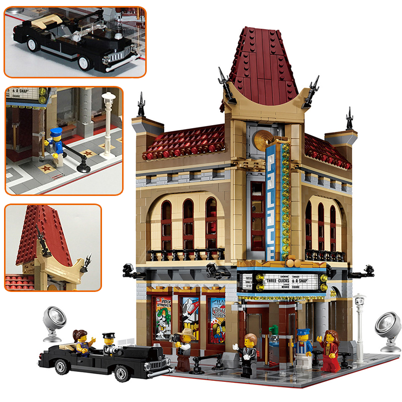 City Mini Street 15006 2354pcs Palace Cinema Building Brick Blocks Kids Toys Educational Birthday Gifts Compatible 10232 legoING city street series 15006 2354pcs palace cinema building blocks creator compatible legoing 10232 bricks toys gifts for children