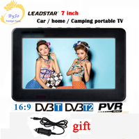 LEADSTAR D7 7 inch led tv digital player DVB T T2 Analog all in one MINI TV Support USB TF TV programs Car charger gift
